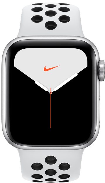 Apple Watch Series 5 NIKE 40 mm Silver Aluminum Case with Pure Platinum Black Sport Band